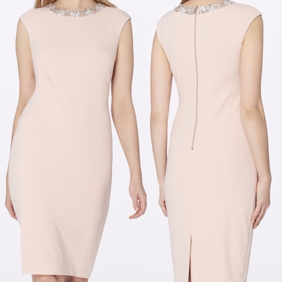 Tahari Dresses & Skirts - Pink Tahari Midi Dress with Jeweled Collar Size 6